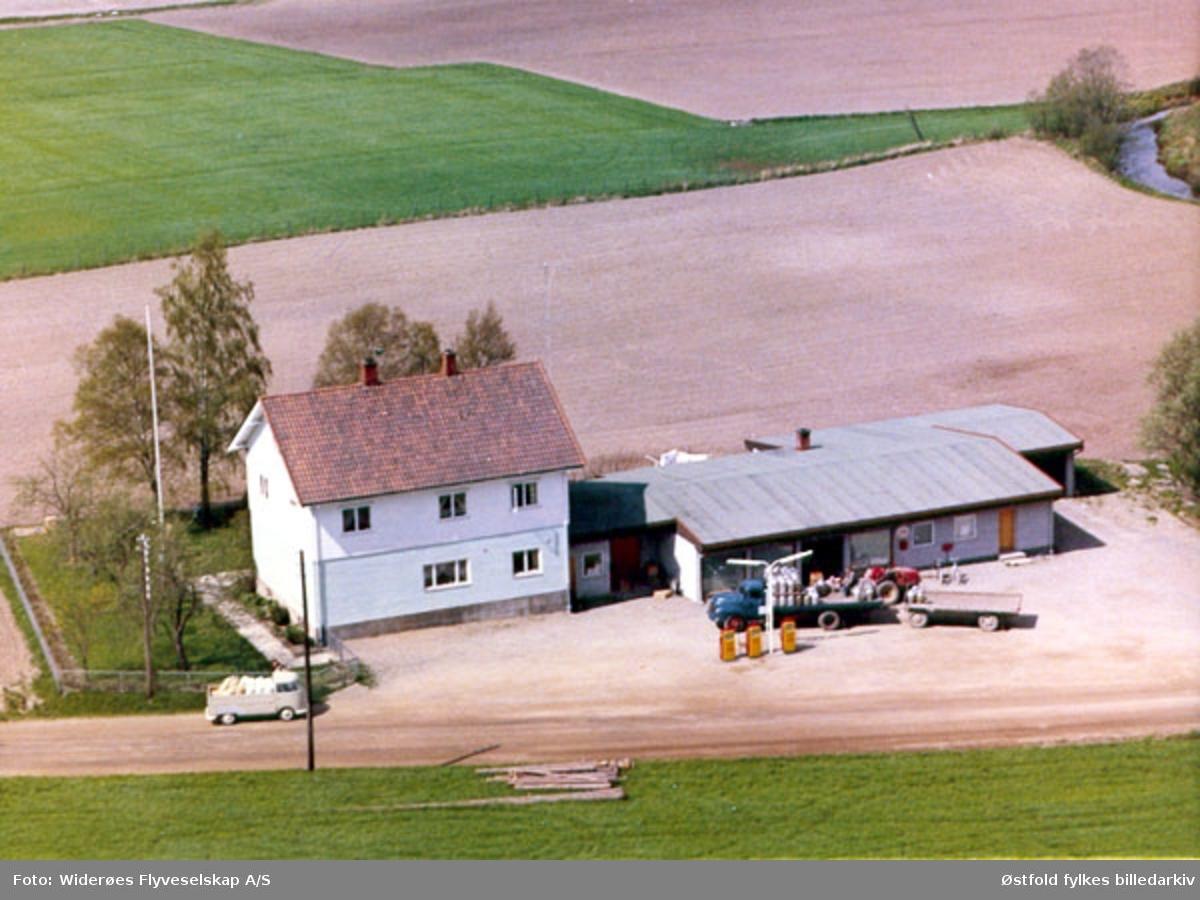 bensinstasjon, verksted, bygning, flyfoto