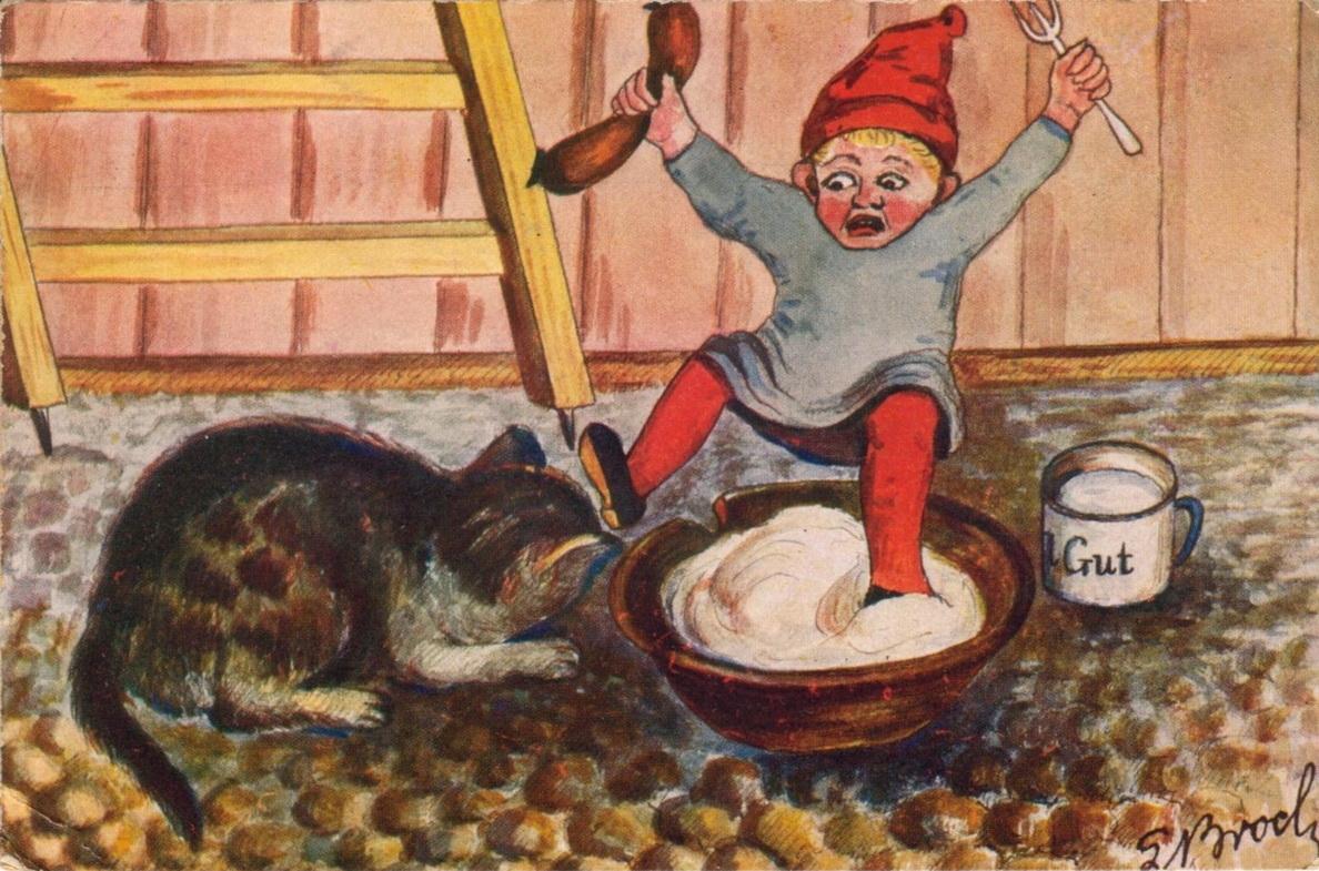 Julekort signert S. Broch. Poststempla 1919. Fra postkort-album. Mottaker var en Fredrikstad-familie. Eier Kystmuseet Hvaler. ØFB.2017-00224.