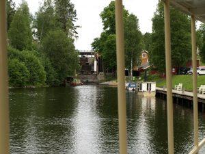 Dampskipet reiser sørover fra slusene ved Ørje. Foto: Bodil Andersson, Østfoldmuseene Halden historiske Samlinger
