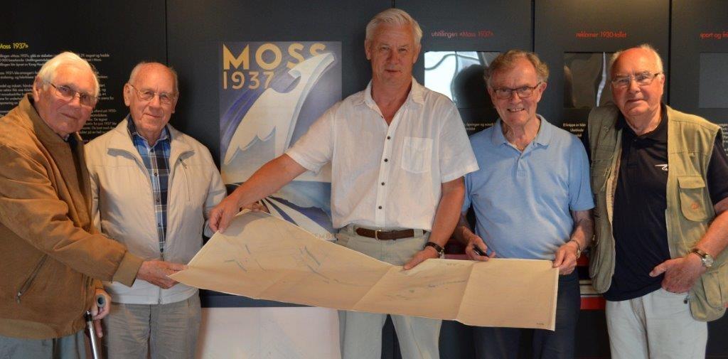 Foto viser fra venstre: Trygve Andreassen, Lorentz Asbjørn Eriksen, Bengt Ø. Eriksen, Kjell H. Olsen og Egil Thømt.