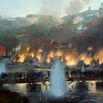 Skildring av bybrannen 1716 av kunstneren Mark Postlethwaite.