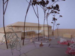 Modell av nytt museum i Fayegården (Av SG Arkitekter)