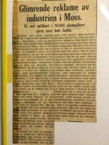 Avisutklipp om Mossefirkortene fra Helly Hansens klipparkiv rundt 1950.