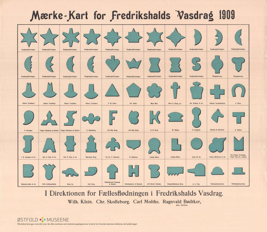 Mærke-Kart for Fredrikshalds Vasdrag 1909