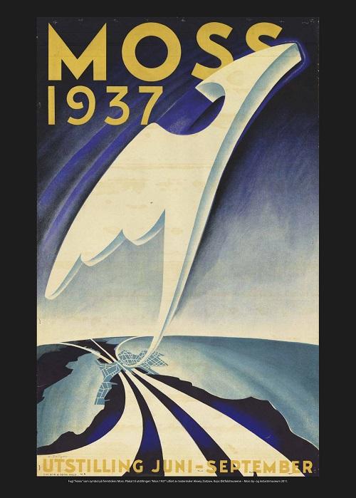 Fugl Fønix som symbol på fremtidens Moss. Plakaten er utført av teatermaler Alexey Zaitzow og ble brukt som gjennomgangsmotiv på plakater, kataloger og trykksaker under Mosseutstillingen på Skarmyra i 1937.