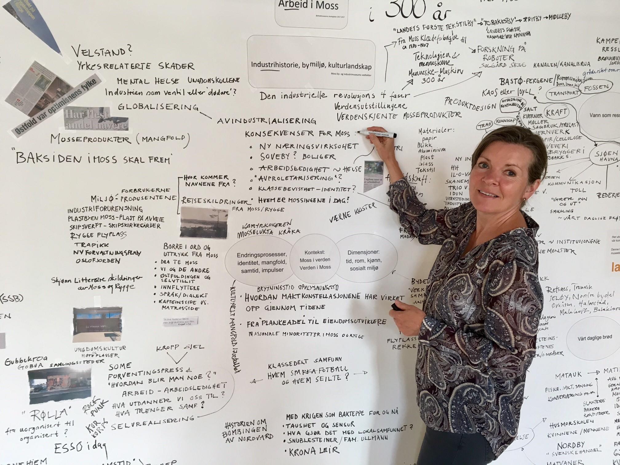Museumsvert Vibeke Nielsen noterer gode innspill på museets idé-kart. Foto: Bjørg Holsvik / Moss by- og industrimuseum