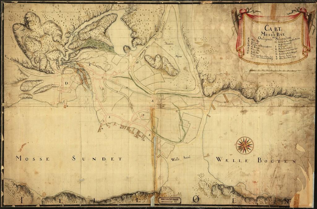 Carte af Mosse Bye med omligende Situvation. 1740. © Kartverket
