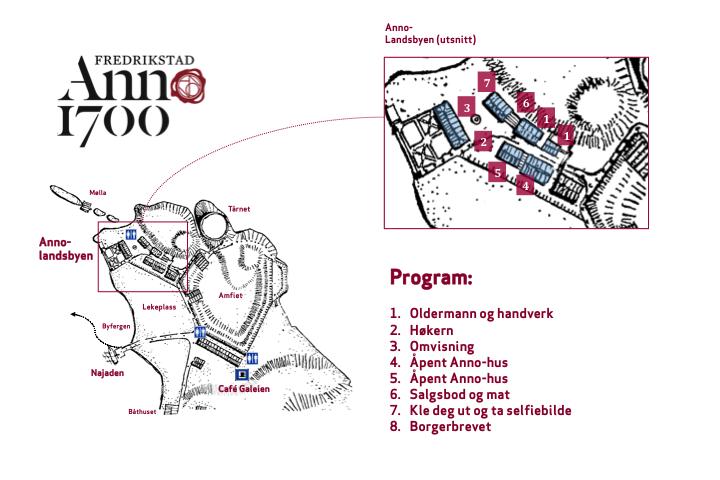 Kart over Anno-landsbyen. Klikk for å forstørre.