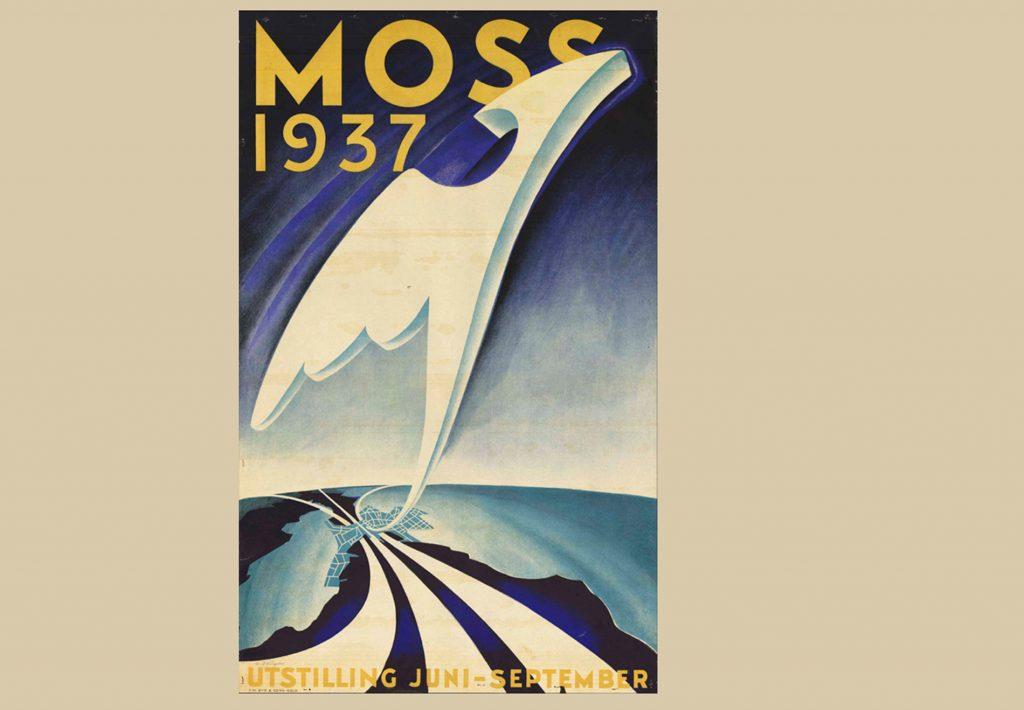 Fugl Føniks som symbol på fremtidens Moss. Plakaten er tegnet av teatermaler Alexey Zaitzow.