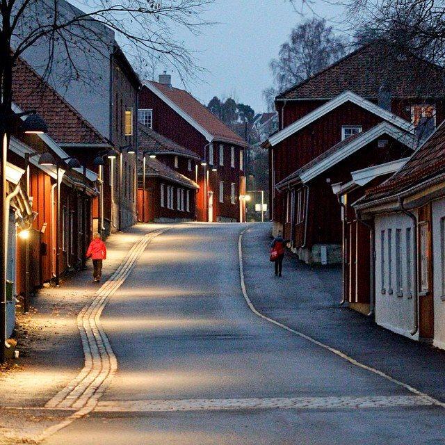 Verket Moss og de gamle arbeiderboligene. Foto: Espen A. Nordenhaug