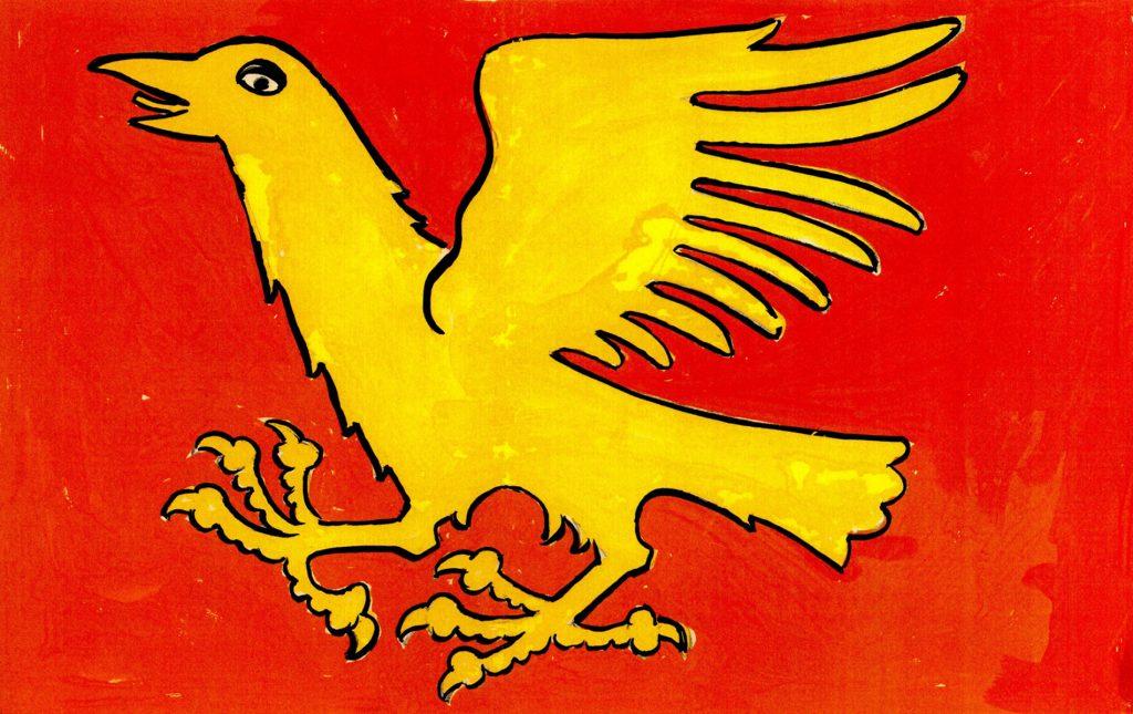 Tegning av gul kråke på rød bakgrunn