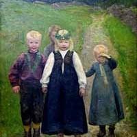 Bilde fra kunstsamlingene på Fredrikstad Museum. Bildet viser småbarns brudeferd.