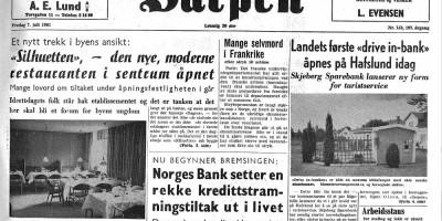 Sarpenarkivet. Bilde av avisforside fra Sarpen 7. juli 1961