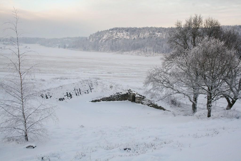 Amfiteateret dekket med snø. Foto: Hege Beate Lindemark