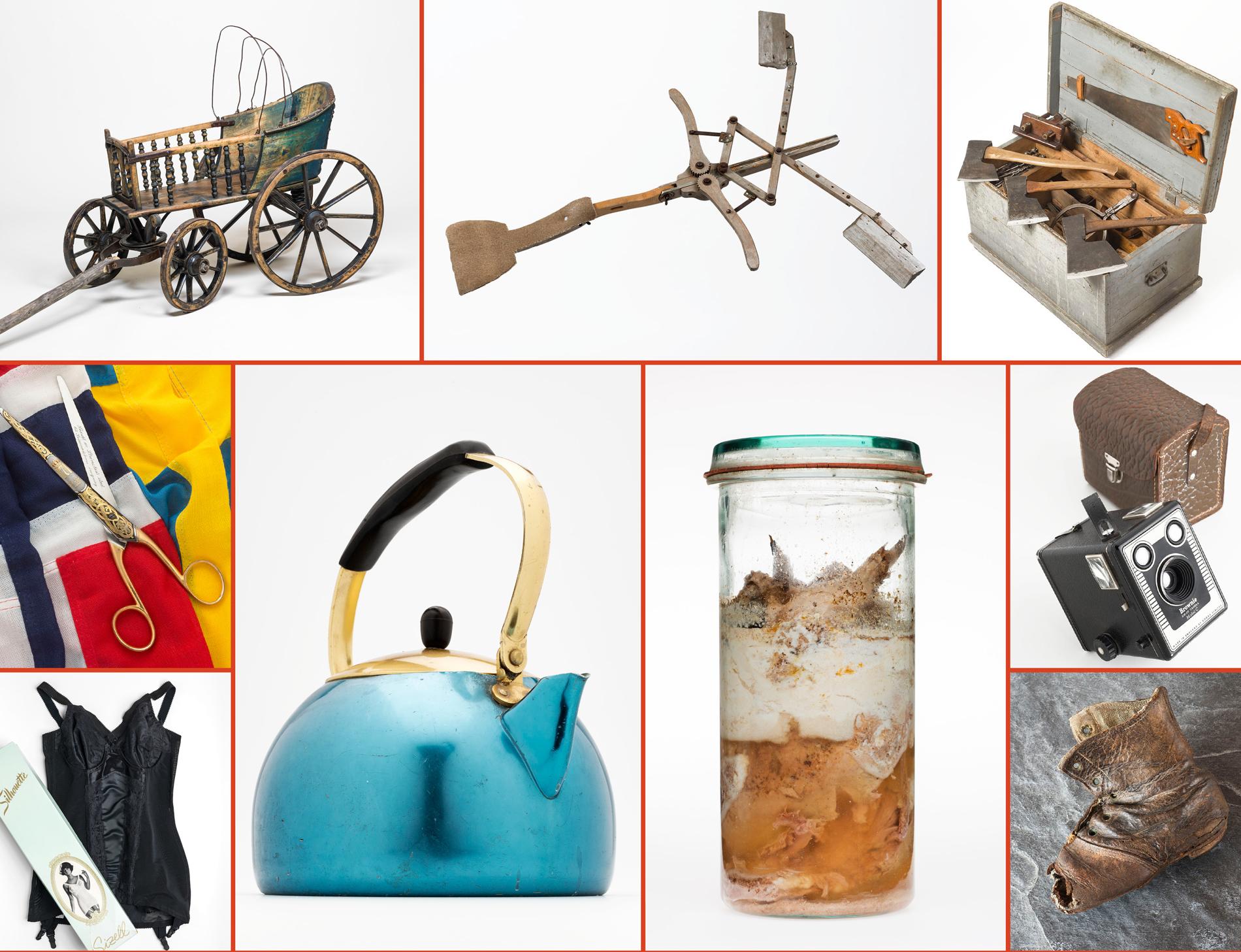 Collage av mange produktfotografier